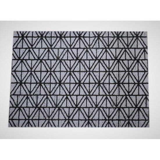 Geomatrical Puffy Woven Shaggy Grey and